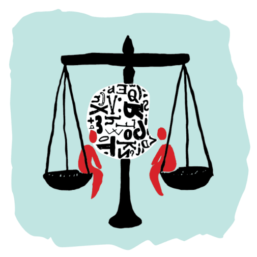 Scales of justice abstract graphic
